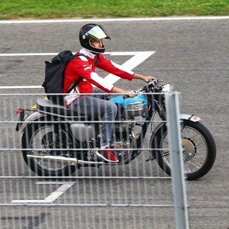 Sebastian Vettel riding his classic Triumph T100